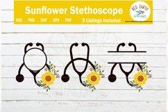 Floral heart stethoscope monogram frames SVG,PNG,EPS,DXF,PDF Product Image 1