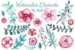 Watercolor Flowers and Birds Set Product Image 2