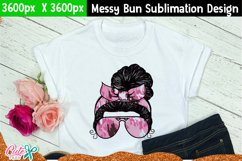 Messy bun with camo- Mother's day sublimation design Product Image 2