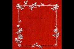 254 Glitter Leaf Branch Border Frame Clip Art Bridal Shower Product Image 5