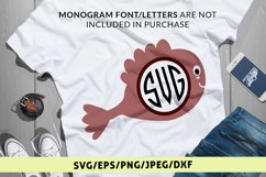 Cute Fish - Animal SVG EPS DXF PNG Monogram Cutting Files Product Image 1