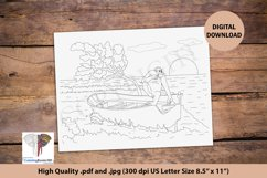 Chimpanzee on the Boat on a Beach Coloring Page for Adult Product Image 1