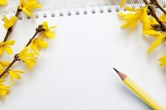 Spring blank sheet with pen and flowers Product Image 1