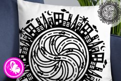 Mandala City skyline svg Road home skyscrapers cars clipart Product Image 1