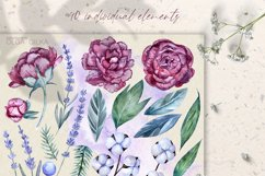 Burgundy peonies watercolor clipart set Product Image 2