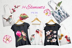 Watercolor spring birds and flowers. Product Image 4