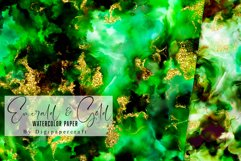 Emerald and Gold watercolor backgrounds, green watercolor Product Image 2
