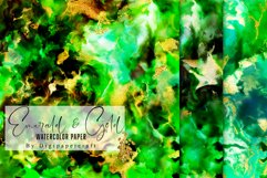 Emerald and Gold watercolor backgrounds, green watercolor Product Image 3