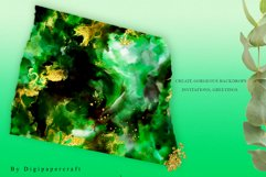 Emerald and Gold watercolor backgrounds, green watercolor Product Image 4