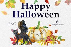 Black cats with wings and pumpkins Product Image 1
