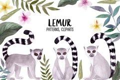Watercolor Lemur. Patterns, Cliparts Product Image 1