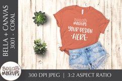 Bella Canvas 3001 Woman's T Shirt Mockup, Coral, Orange Product Image 1
