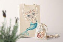 Watercolor Cat Mermaid clipart. Seashells marine clip art. Product Image 7