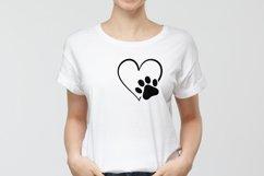 Dog Paw Print SVG Cut File | Heart Paw Print SVG Cricut Product Image 2