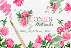 Bouquet of pink peony moment of joy watercolor png Product Image 1