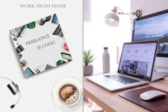 Work from home Watercolor clipart. Seamless patterns, frame Product Image 5