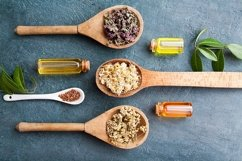 Dry herbs and oils or essences flat lay homemade cosmetics Product Image 1
