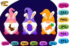 3 Gnomies with Bunny Ears Svg, Three Easter Gnomes Svg Shirt Product Image 1