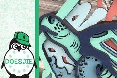 Sea turtle layered multi layer mandala sea nautical 3d svg Product Image 5