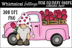 Rose Delivery Gnome Sublimation Clipart Product Image 1