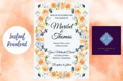 Peach and Dusk Blue Watercolor Wedding Invitation Product Image 5