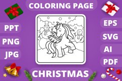 KDP Unicorns Christmas Coloring Book for Kids - 30 Pages Product Image 5