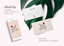 Watercolor logo floral whisk for bakery, cooking clipart Product Image 2
