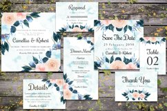 Gorgeous Blue And Peach Flowers Wedding Invitation Suite Product Image 1