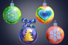 Watercolor Christmas ball clipart Product Image 5