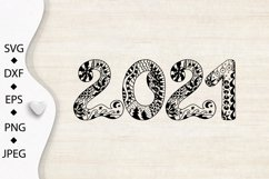 2021 Typography design. Happy New Year. Zentangle SVG PNG Product Image 4