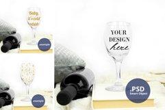 Plain Background Stemmed Wine Glass mockup PSD, Glass mockup Product Image 1