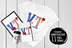 State abbreviation. USA sublimation. Vermont Product Image 1