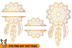Mandala Monogram SVG | Floral Boho Dreamcatcher Product Image 1