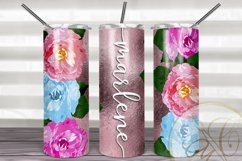 Flowers 20 oz Skinny Tumbler Sublimation / Rose Gold FOIL Product Image 1