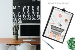 Work from home Watercolor clipart. Seamless patterns, frame Product Image 7