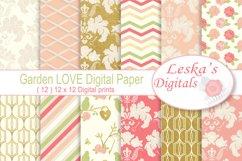 Gold Floral Digital Patterns - Digital Scrapbook Paper Product Image 1