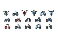 Motorbike icons set, outline style Product Image 1