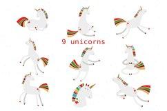 Christmas Unicorns Clipart Set Product Image 3