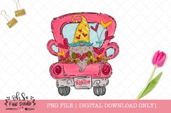 Valentine truck with gnome, PNG file, hand drawn sublimation Product Image 1