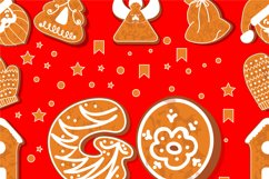Vector set of 2 gingerbread alphabets. Christmas symbols. Product Image 6
