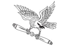 Shrike Clutching Propeller Blade Black and White Drawing Product Image 1