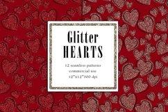 Valentine Digital Paper, Glitter Heart Pattern Product Image 5