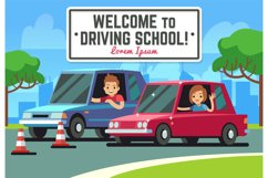 Driving school vector background with young happy driver in Product Image 1