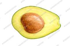 Half avocado isolated on white Product Image 1