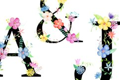 Watercolor floral alphabets with black background Product Image 2