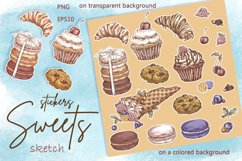 Sweets and Desserts. Sketch stickers. Part 2 Product Image 4