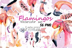 Boho flamingo Watercolor set Product Image 1