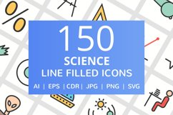 150 Science Filled Line Icons Product Image 1
