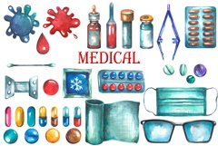 Watercolor Medical Clipart Product Image 3