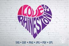 I Love Rhinestones SVG cut file in a Heart Shape Product Image 1